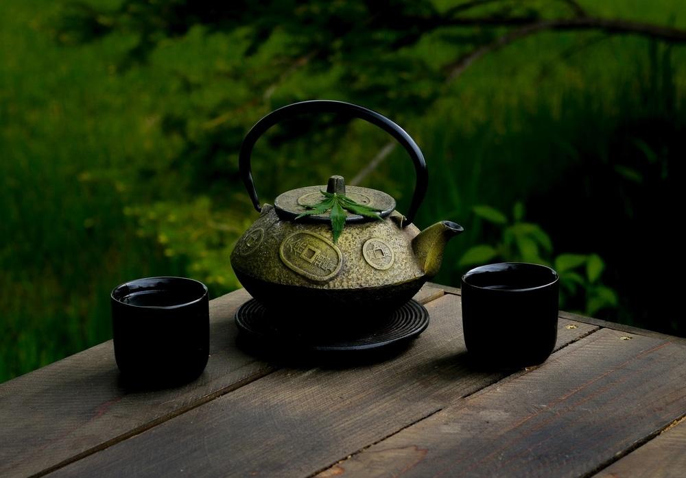 Cannabis leaf on a teapot